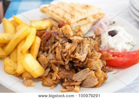 Gyros portion in a restaurant