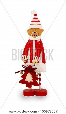 Wooden christmas figurine isolated.
