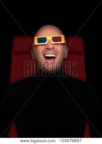 Man watching a 3-D Movie