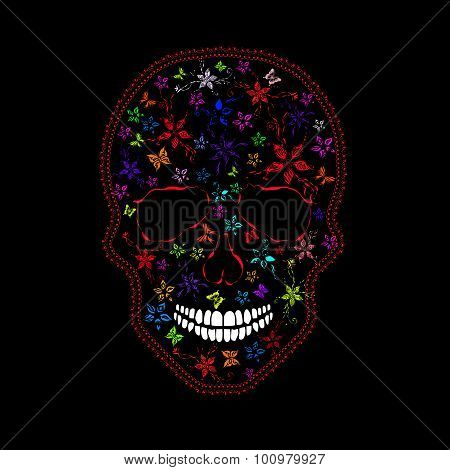 Human Skull With Flowers And Butterflies