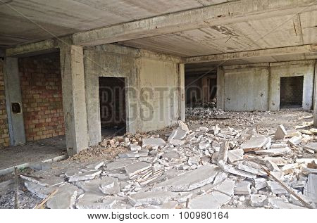 KIEV, UKRAINE - September 01, 2015: Abandoned construction site of Hospital.Abandoned at 1991,during ukrainian undependence crisis. Near Kiev,Ukraine.