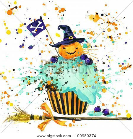 Halloween pumpkin, food and magic witch hat. Watercolor illustration background for the holiday Hall