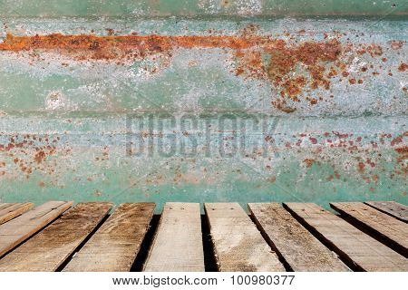 Wooden Floor On Rusted Tile Background.