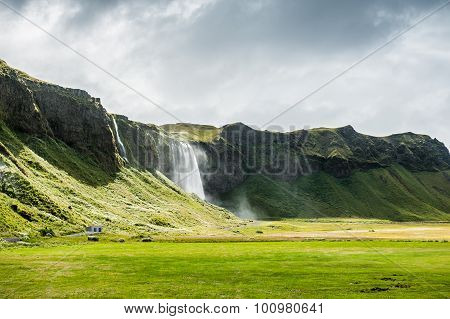Beautiful Waterfall Seljalandsfoss In South Of Iceland