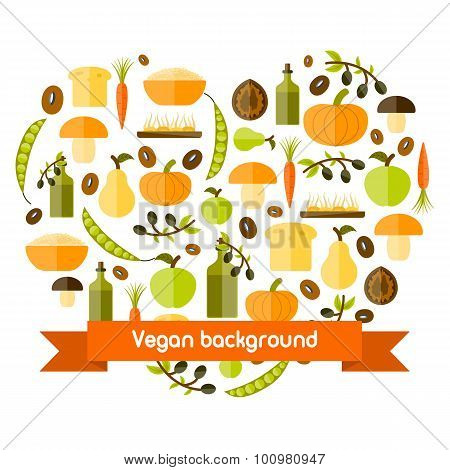 Modern vector background in heart shape with flat style objects on vegan food theme