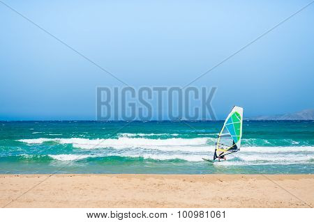 Windsurfing In The Sea.