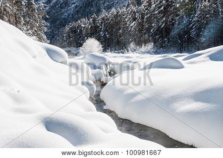 Snowfall On The Mountain River
