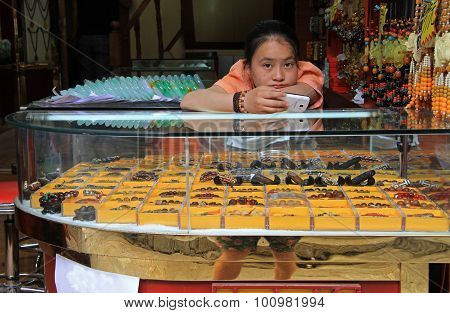 girl-seller is missing in the shop
