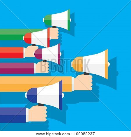 digital marketing with a megaphone concept