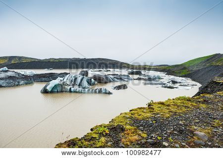 Icebergs In Glacial Lagoon.
