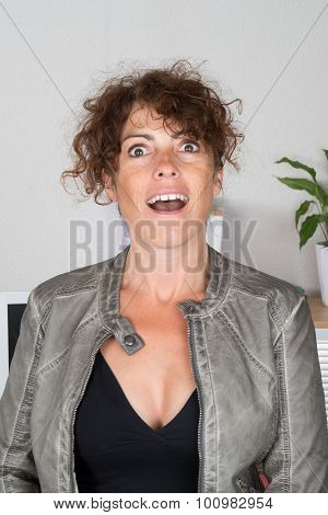 Portrait Of A Surprised Businesswoman At Office