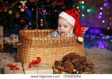 Little Baby Boy In Santa Hat Sitting In A Wicker Basket.