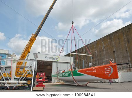 LORIENT, FRANCE - CIRCA AUGUST 2011. Construction of winner race boat for the Volvo Ocean Race 2011-2012.
