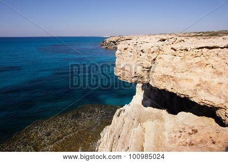 Sea Landscape With Rock. Capo Greco, Cyprus