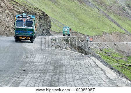 Goods Trucks Passing Through Zoji La Pass, Srinagar Leh Highway