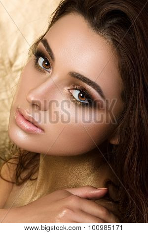 Beauty Portrait Of Young Pretty Woman With Fashion Make-up