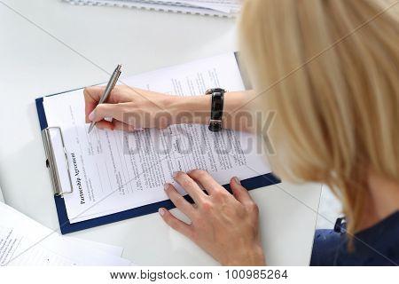 Business Woman Filling Partnership Agreement Blank
