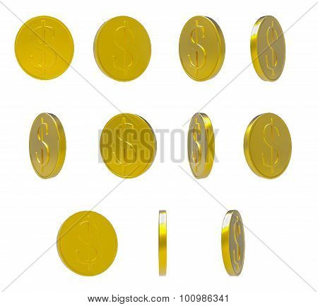 Golden Falling Coins Isolated On White Background