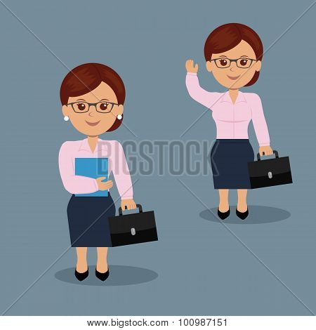 Set businesswoman with briefcase in a variety of activities.
