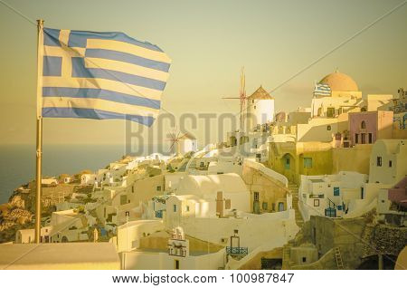 Vintage Image Of Oia Village At Santorini Island, Greece