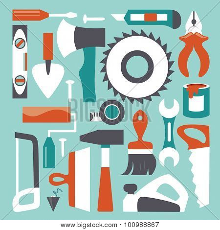 Tools background, flat design