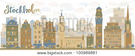 Stockholm Skyline with Bown and blue Buildings. Vector Illustration