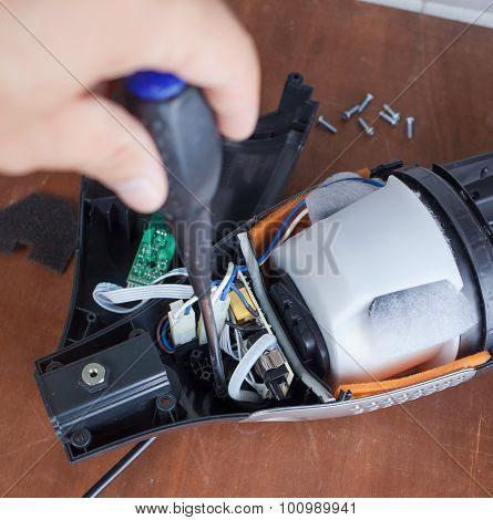 Vacuum Cleaner Disassembled For Repair Malfunctioning