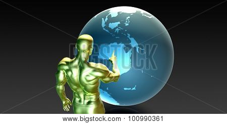 Businessman Pointing at Australia or New Zealand Concept