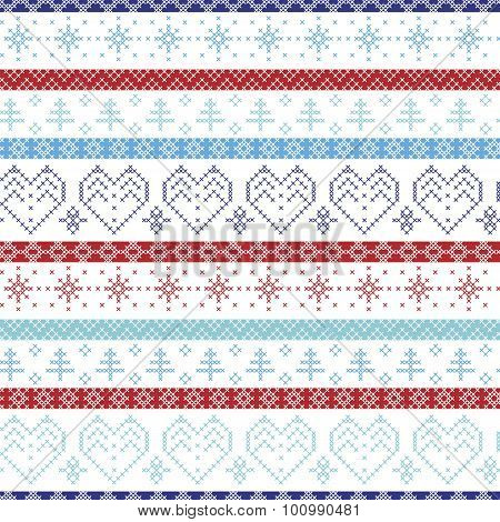 Light and dark blue, duck egg, and red Nordic Christmas seamless  pattern with hearts, trees, decora