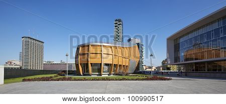 MILAN ITALY - AUGUST 30 2015 : New business district Garibaldi. For expo 2015 all this important neighborhood is renewed and attended by thousands of workers and tourists