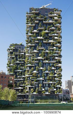 MILAN ITALY August 30 2015: Skyscraper Vertical Forest. The special feature of this building is the presence of more than 900 tree species.