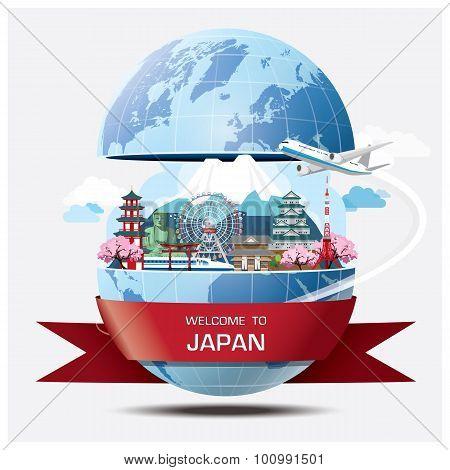 Japan Landmark Global Travel And Journey Infographic Background