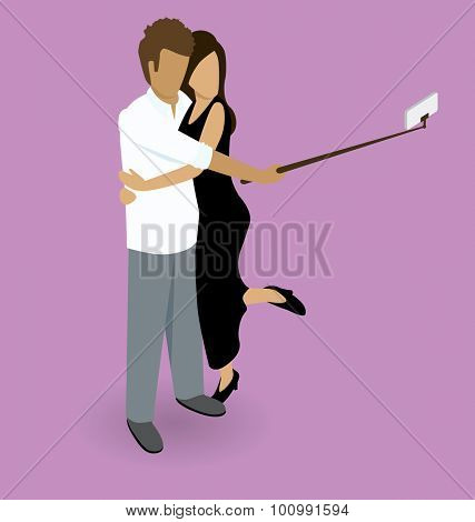 Vector flat isometric couple making selfie