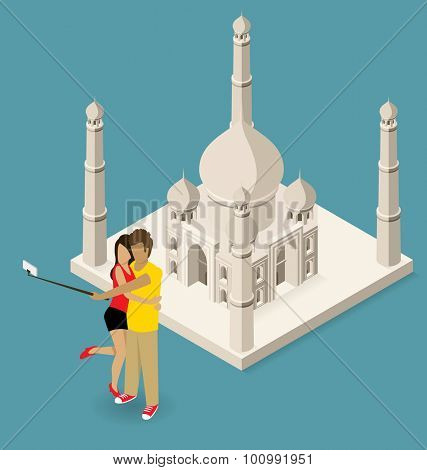 Vector flat isometric couple making selfie near the Taj Mahal