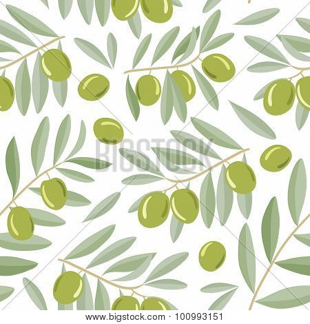 Green olive branches seamless pattern