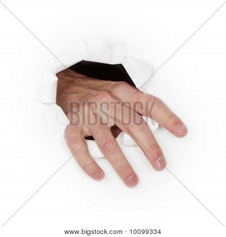 Hand Breaks Through White Paper
