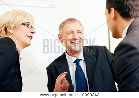 Business team discussing a project