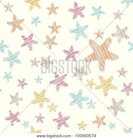 Grunge star background. Seamless pattern. Colorful party texture.