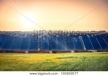 Solar Cell Park On A Field