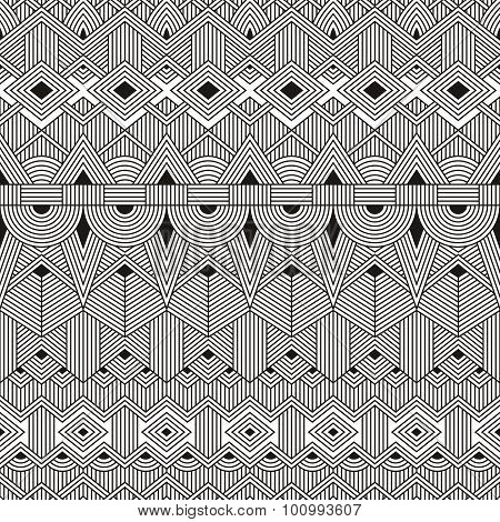 Vector seamless tribal pattern. Abstract geometric background.