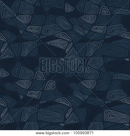 Hand drawn swirls. Seamless pattern. Dark blue background.
