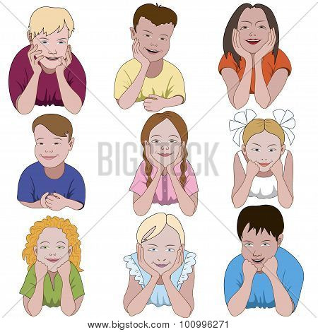 Set Of Nine Young Children Leaning On They Elbows