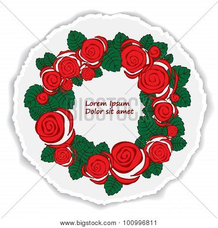 Greeting Card. Poster, Brochure Template With Rose. Vector Cirlcular  Frame. Torn Paper
