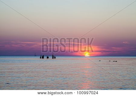 Lilac Sunset Over Baltic
