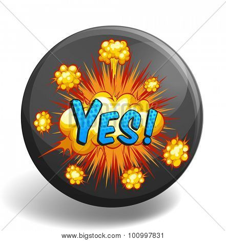 Word yes on round badge illustration
