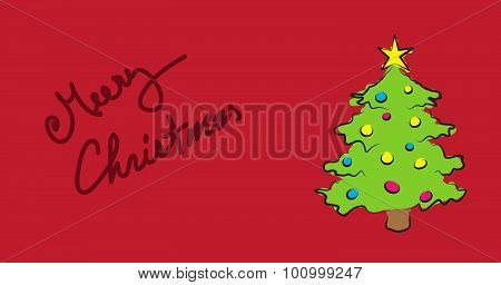 Simple wish card with text merry christmas and decorated tree