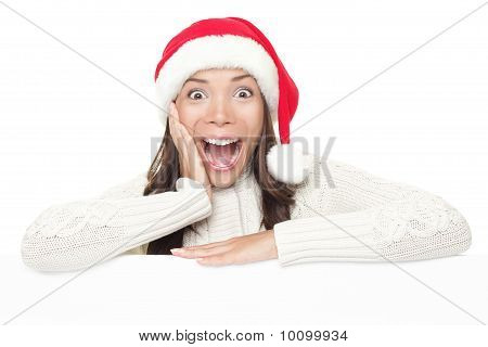 Christmas Billboard Woman Surprised Leaning On Sign