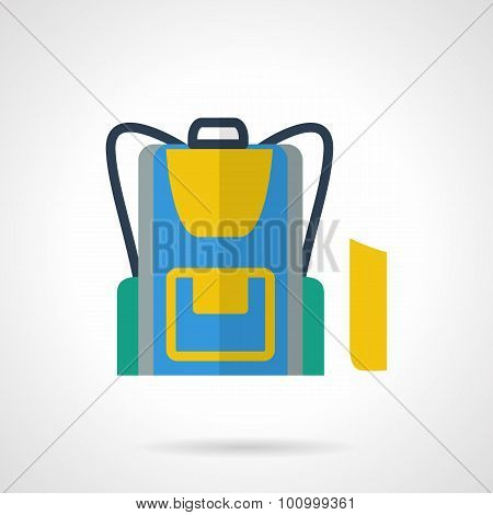 School backpack flat color vector icon