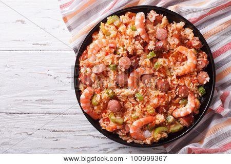 Creole Jambalaya With Shrimp And Sausage. Horizontal Top View