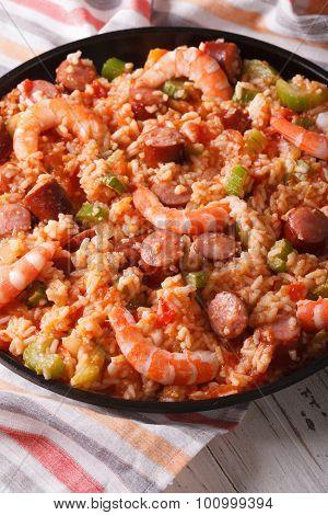 Creole Food: Jambalaya With Shrimp And Sausage Close-up. Vertical